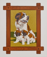 o. T. (Bernhardiner), Öl auf Leinwand, 55 x 45 cm, 2011