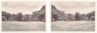 HEIMATLAND II, 2-teilig, Graphit auf Papier, je 10 x 14,5 cm, 2012
