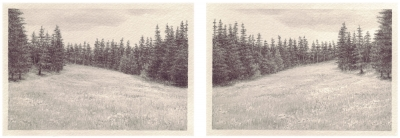 HEIMATLAND I, 2-teilig, Graphit auf Papier, je 10 x 14,5 cm, 2012